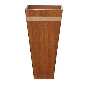 Vaso Cachepot Madeira Listra Marrom 29x14cm