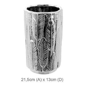 Vaso Cerâmica Decorado Folha Prata 21,5x13cm