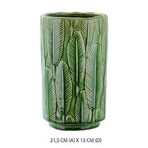 Vaso Cerâmica Decorado Folha Verde 21,5x13cm