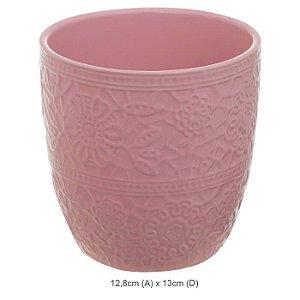 Vaso Cerâmica Decorado Rosa 12,8x13cm