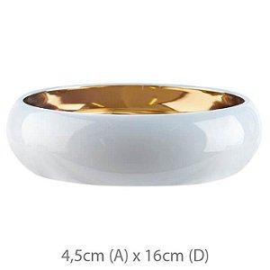 Vaso Cerâmica Bacia Branco Dourado 4,5x16cm