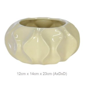 Vaso Cerâmica Ondulado Bege 12x23cm