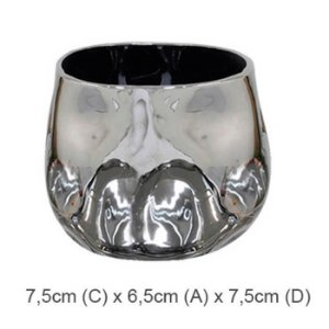 Vaso Cerâmica Espelhado Prata 6,5x7,5cm