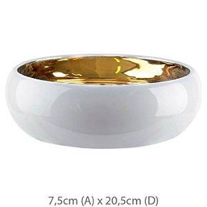 Vaso Cerâmica Bacia Branco Dourado 7,5x20,5cm
