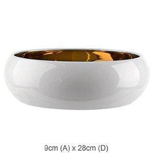 Vaso Cerâmica Bacia Branco Dourado 9x28cm