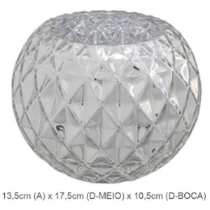 Vaso Vidro Aquário Decorado Prata 13,5cm