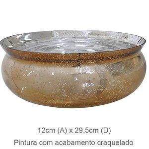 Vaso Vidro Bacia Craquelado Dourado 12x29,5cm