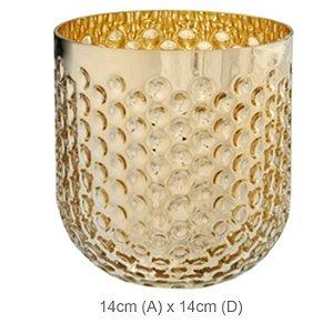 Vaso Vidro Brilho Dourado 14cm