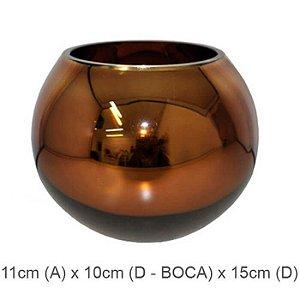 Vaso Vidro Aquário Espelhado Bronze 11cm