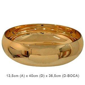 Vaso Vidro Bacia Redondo Dourado 13,5x40cm