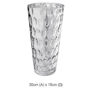 Vaso Vidro Decorado Prata 30cm