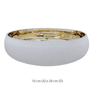 Vaso Vidro Bacia Branco e Dourado 10x28cm