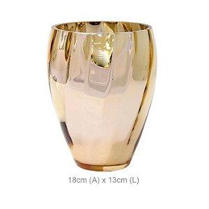 Vaso Vidro Ondas Dourado 18cm