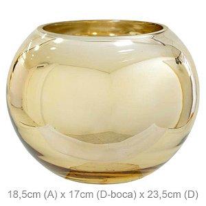 Vaso Vidro Aquário Dourado 18,5x23,5cm