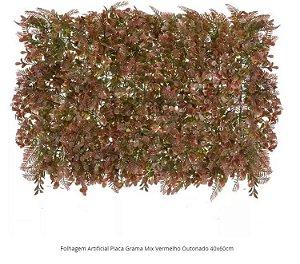 Folhagem Artificial Placa Grama Mix Vermelho Outonado 40x60cm
