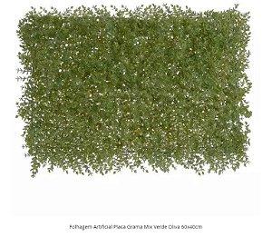 Folhagem Artificial Placa Grama Mix Verde Oliva 60x40cm