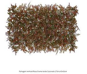 Folhagem Artificial Placa Grama Verde Outonado 2 Tons 40x60cm