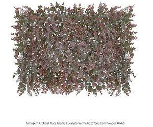 Folhagem Artificial Placa Grama Eucalipto Vermelho 2 Tons Com Powder 40x60cm