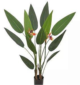 Planta Árvore Artificial Estrelícia Com Flor Verde 1,25m