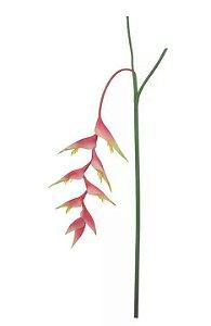 Haste Flor Artificial Helicônia Pendente Rosa 1,38m