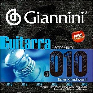 Encordoamento Giannini GEEGST10 .010/.046 para Guitarra