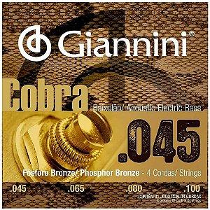 Encordoamento Giannini GEEBASF .045/.100 Cobra para Baixolão