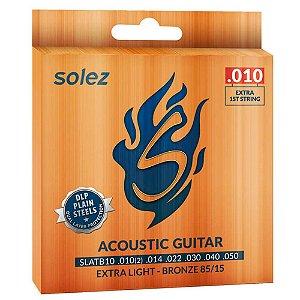 Encordoamento Solez SLATB10 010/050 Bronze para Violão Aço