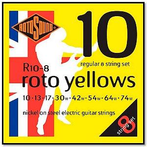 Encordoamento Rotosound R10-8 Yellow 010/074 P/ Guitarra 8c