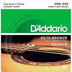 Encordoamento D'addario EZ890B Bronze 009/045 P/ Violão Aço