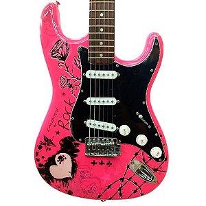 Guitarra Stratocaster Ewa Condor RX20 Rosa com Bag