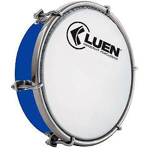 """Tamborim Luen 06"""" ABS Azul com Pele Leitosa"""