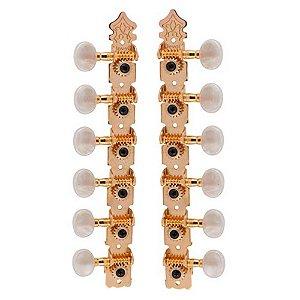 Tarraxa Deval 601G Dourada Pino Fino para Violão 12C