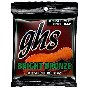 Encordoamento GHS Bright Bronze BB10U 010/046 para Guitarra
