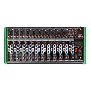 MESA DE SOM 12 CANAIS ULTRA SLIM COM USB E BLUETOOTH PM-1624BT 220V