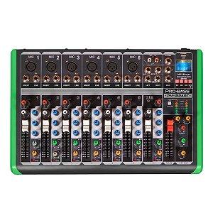 MESA DE SOM 8 CANAIS ULTRA SLIM COM USB E BLUETOOTH PM-1224BT 127V