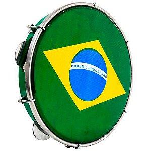 "Pandeiro Luen 10"" ABS Verde com Pele Brasil"
