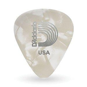 Kit com 10 Palhetas D'Addario 1CWP4-10 Para Guitarra Celuloide Perolada White Média