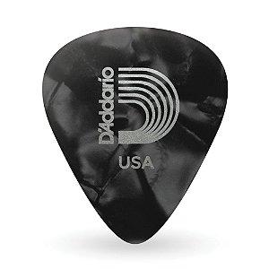 Palheta D'Addario 1CBKP4-10 Para Guitarra Celuloide Perolada Black Média (Pacote Com 10)