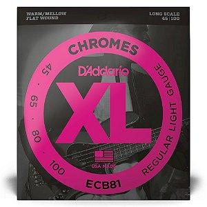 Encordoamento D'Addario ECB81 Baixo 4C .045 XL Chromes