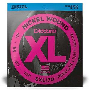 Encordoamento D'Addario EXL170 Baixo 4C .045 XL Nickel Wound