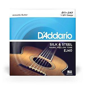 Encordoamento D'Addario EJ40 Violão Aço .011 Silk & Steel