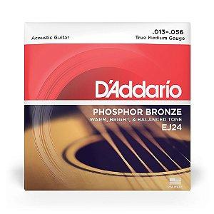 Encordoamento D'Addario EJ24 Violão Aço .013 Phosphor Bronze