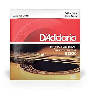 Encordoamento D'Addario EZ930 Violão Aço .013 Bronze 85/15