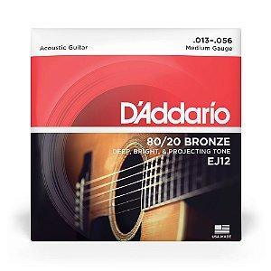 Encordoamento D'Addario EJ12 Violão Aço .013 Bronze 80/20