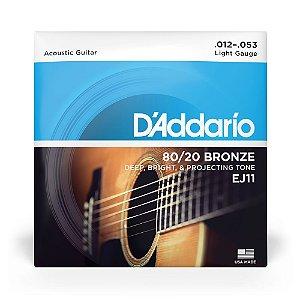Encordoamento D'Addario EJ11 Violão Aço .012 Bronze 80/20