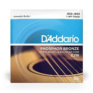 Encordoamento D'Addario EJ16 Violão Aço .012 Phosphor Bronze