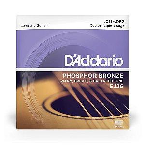 Encordoamento D'Addario EJ26 Violão Aço .011 Phosphor Bronze