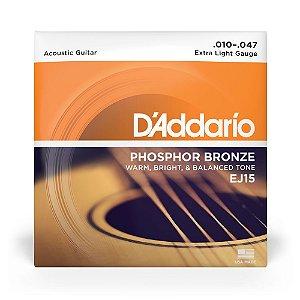 Encordoamento D'Addario EJ15 Violão Aço .010 Phosphor Bronze