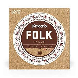 Encordoamento D'Addario EJ33 Violão Bronze 80/20 Folk Nylon