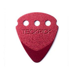 Kit com 12 Palhetas Dunlop 467R Teckpick Aluminio Vermelha